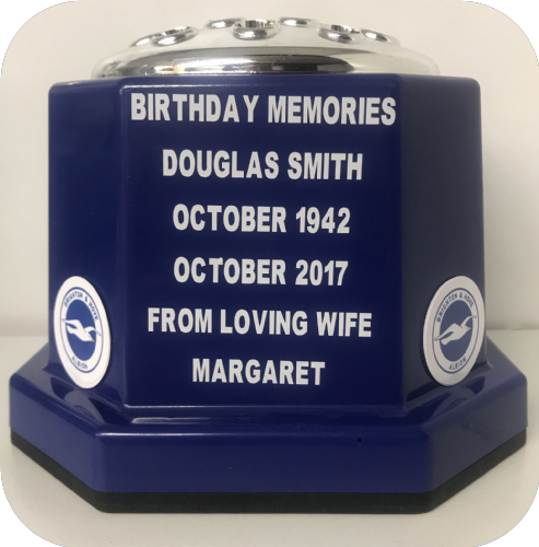 Brighton & Hove Albion F. C.  personalised Grave pot 50p blue